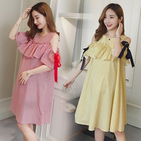 Maternity Clothes Fashion Summer New Arrival Hollow stripe Blue Dress for Pregnant Pregnancy Loose Temperament Plus Size Clothes