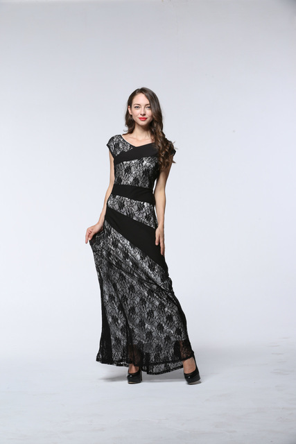 New Bodycon Flower Lace Floral Slash o-neck Sexy Elegant Evening Women Plus Size XL-7XL Party Dress.