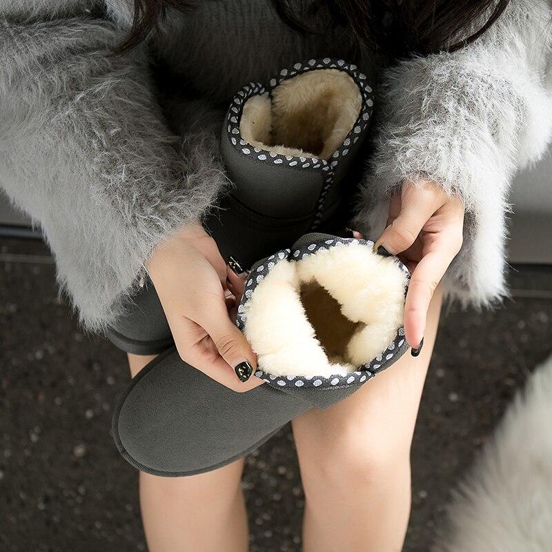 1115c7a64 Plano Zapatos Talón Black beige Piel Mujer Asileto S825 Calzado Caliente  Botines Nieve Invierno gray Botas Feminina Mujeres De ...