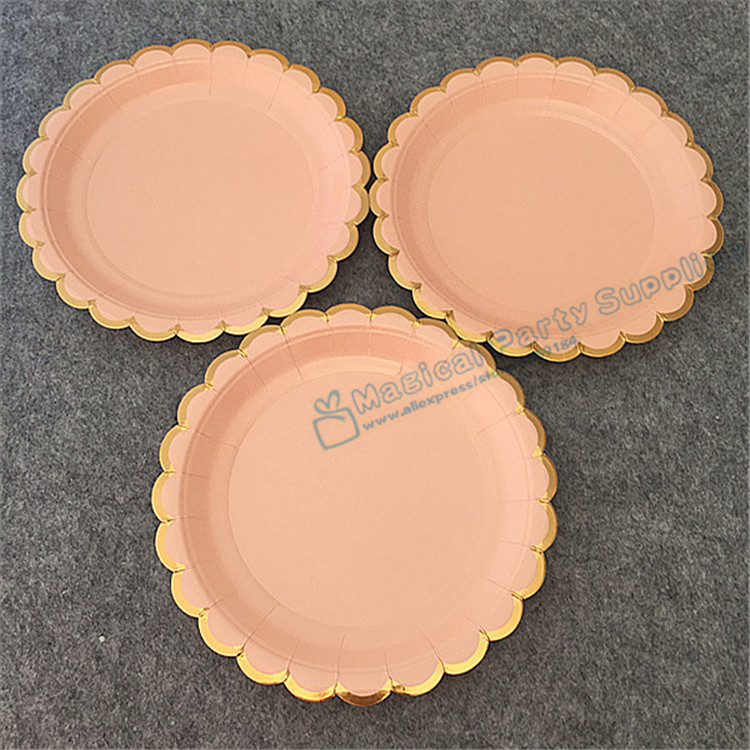 48pcs Foil Gold Pink Coral Paper Plates Girl's Birthday Decor Princess Party Supplies Pastel Peach 18cm Dessert Cake Dishes