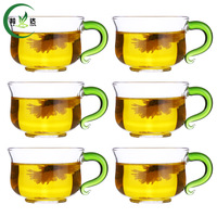 6pcs 100ml High Quality Heat Resisting Glass Tea Cup With S Shaped Green Handle Oolong Tea