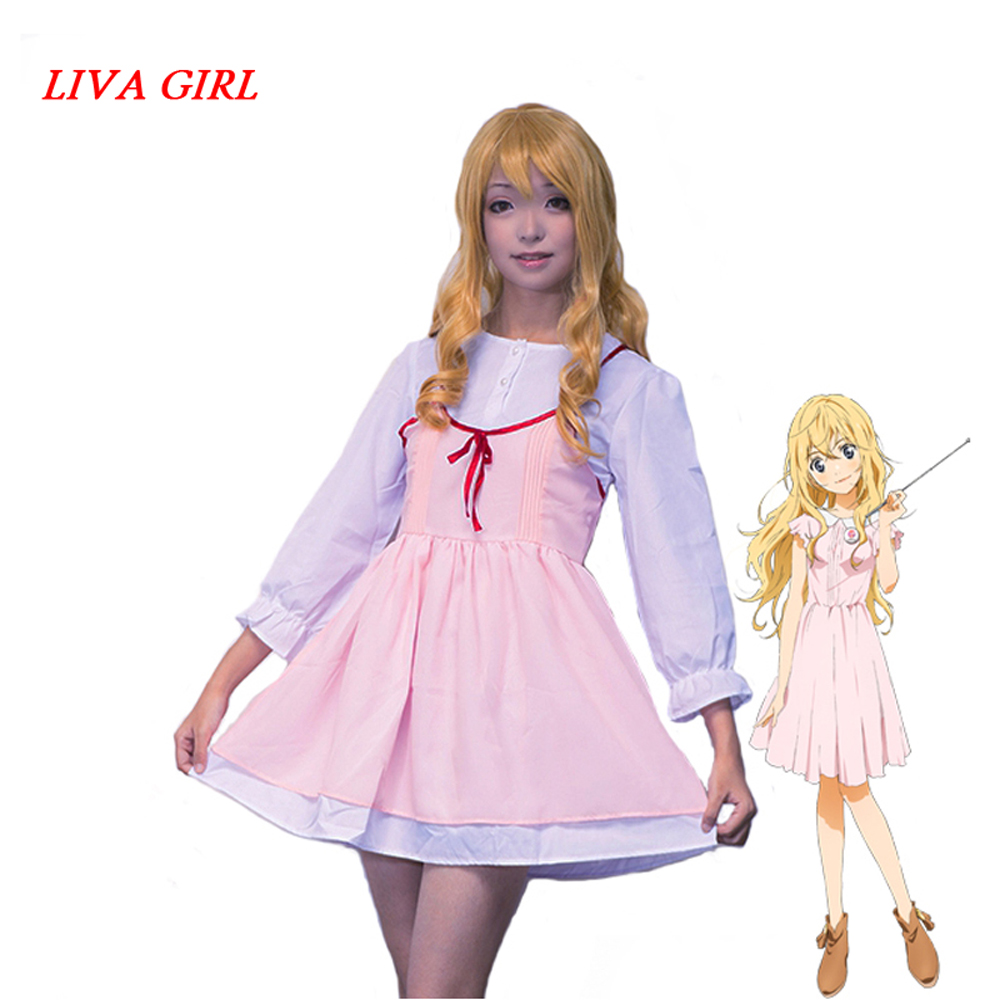 Liva girl Anime Your Lie in April Cosplay Kaori Miyazono First episode Adult Pink Dress Girls Cosplay Costumes