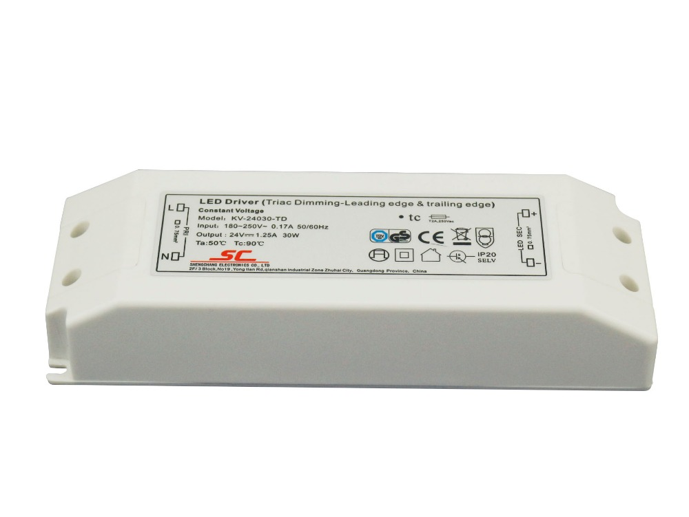 цены 5pcs/lot Constant Voltage Triac Dimmable LED Driver Power Supply For LED Strip light 110V 230V to 12v 24V 30W best price