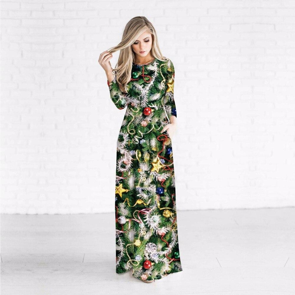 Impression numérique 3D Empire taille noël Maxi robe hiver femmes à manches longues O cou avec poches une ligne vacances robes de fête