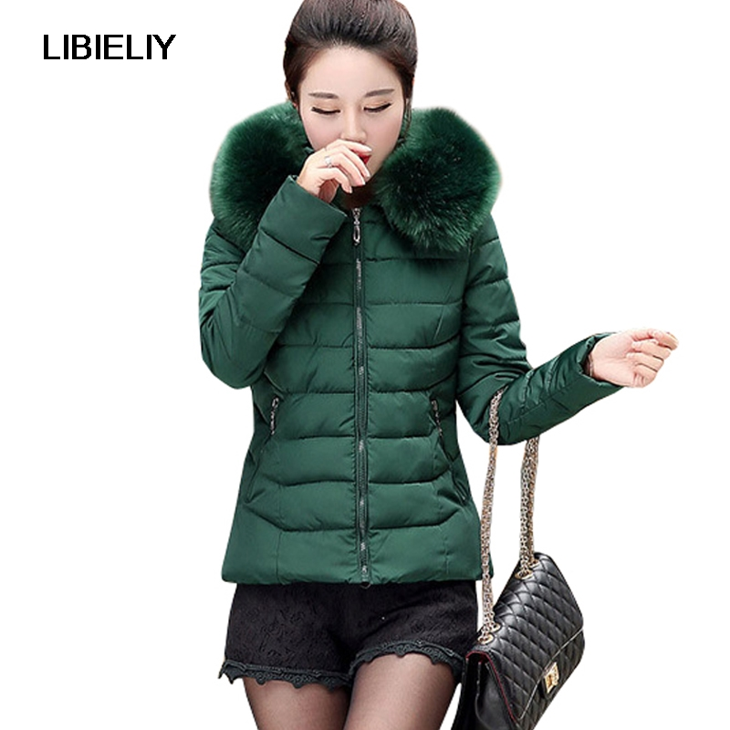 Nice Warm Fashion Big Size   Basic     Jacket   Women Winter Short Fur Collar Solid Hooded Down Cotton Female Padded Slim Coats Chaqueta