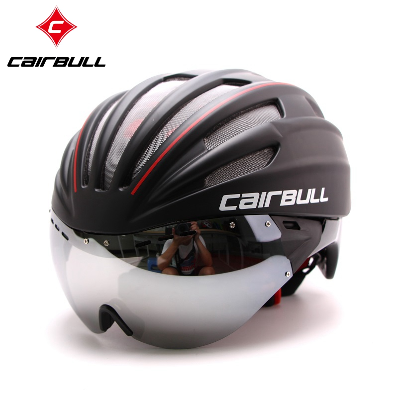 ФОТО MTB helmet with goggles glasses men and women cycling equipment integrally molded helmet