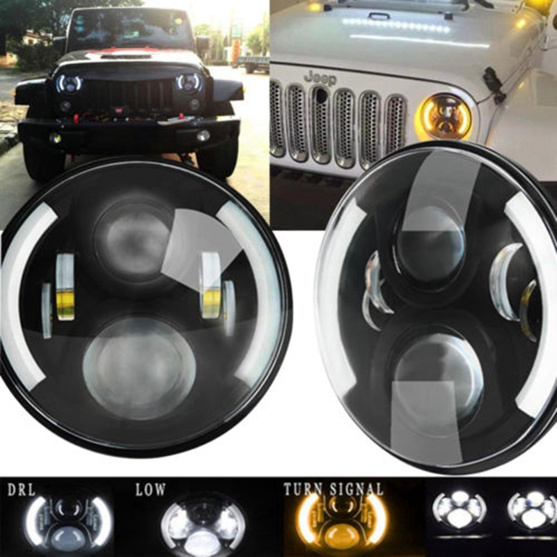 7inch Round 50W Beam Driving Light Headlights Insert with DRL & Turn Signal & Halo Ring Angle Eyes for Jeep Wrangler JK TJ LJ pair 7 inch round high low led headlight with amber signal halo ring angle eyes with drl halo for 97 15 jeep wrangler jk tj