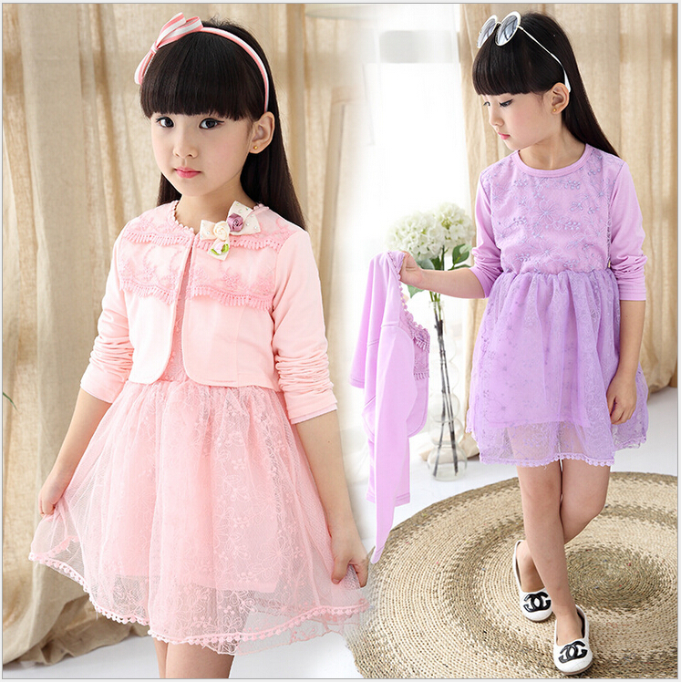 New Autumn sweet girls sets two-piece cardigan outwear cape jacket + long sleeve dress cotton lace kids girls clothes sets new autumn sweet girls sets two piece cardigan outwear cape jacket long sleeve dress cotton lace kids girls clothes sets