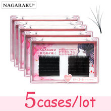 Nagaraku 5 casos novos chegaram autofãs cílios fácil fanning cílios mega volume ventilador russo volume cílios de dois tons compõem cílios