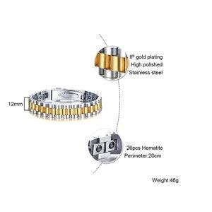 Image 4 - Firmy zegarków opieki zdrowotnej hematytu energii moc mężczyzna dorywczo biżuteria Hombre mężczyzn ze stali nierdzewnej bransoletka