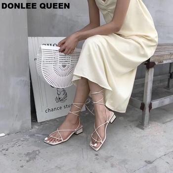 Nowe mody kobiet sandały niska koronka na pięcie w górę sandał pasek z tyłu letnie buty Gladiator sandały na co dzień wąskie paski zapatos mujer buta tanie i dobre opinie DONLEE QUEEN Mieszkanie z RUBBER Wąskim paśmie Moda Niska (1 cm-3 cm) Otwarta Lace-up Stałe Back Strap Dla dorosłych