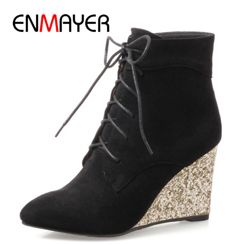 ENMAYER High Heels Pointed Toe Western Boots Shoes Woman Lace-up Cross-tied Ankle Boots for Women Wedges Plus Size 34-42 Womens enmayer shoes woman supper high heels ankle boots for women winter boots plus size 35 46 zippers motorcycle boots round toe