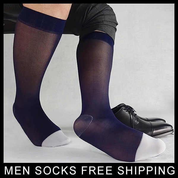 52d59f542bc Brand Mens Nylon silk socks 2018 new style Transparent Thin Sexy Formal Male  Gay Socks Navy