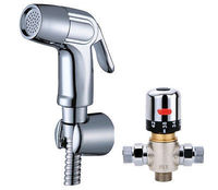 Bathroom Toilet Handheld Bidet Sprayer Kit with Hot and Cold Water Mixing Thermostatic Valve Bracket Holder and 1.5m Hose