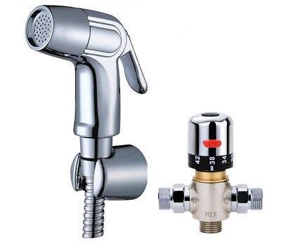 Kit de pulvérisateur de Bidet tenu dans la main de toilette de salle de bains avec l'eau chaude et froide mélangeant le support thermostatique de Valve et le tuyau 1.5m