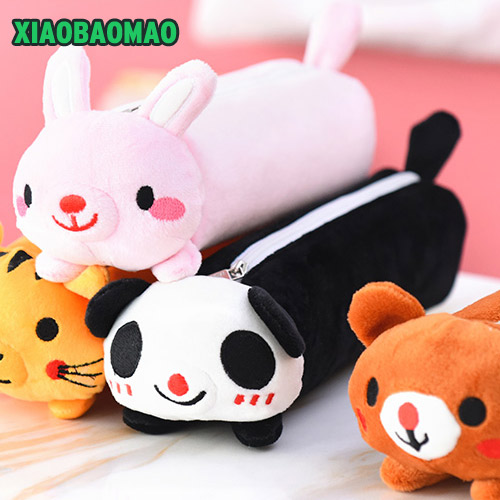 Kawaii Cartoon Plush Toy Rabbit cat bear Pencil Case Cute Animal Pen Bag Box Stuffed Animal Doll Gift School Supplies Stationery rabbit plush keychain cute simulation rabbit animal fur doll plush toy kids birthday gift doll keychain bag decorations stuffed