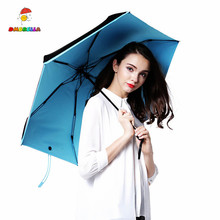 DMBRELLA Blue Mini Umbrella Compact Five Folding Sun Rain Travel Parasol Super Light Portable Small DM004