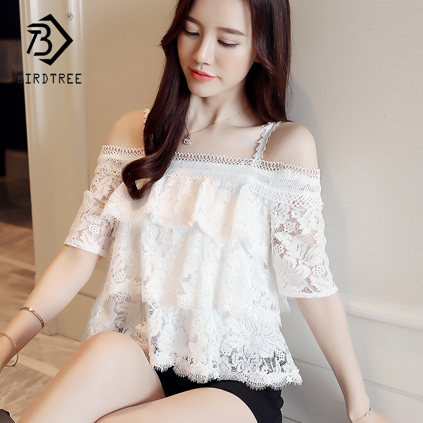 2018 Spring And Summer New Arrival Womens Blouses & Shirt Slim Short Sleeve Sweet Slash  ...
