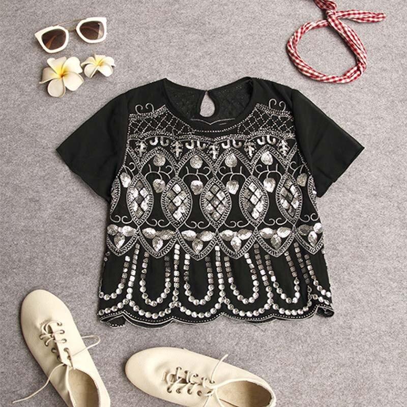 Seily Роскошная летняя шифоновая блузка с вышивкой бисером и блестками высокого качества с коротким рукавом повседневные женские вечерние Блузы с блестящим узором - Цвет: Black