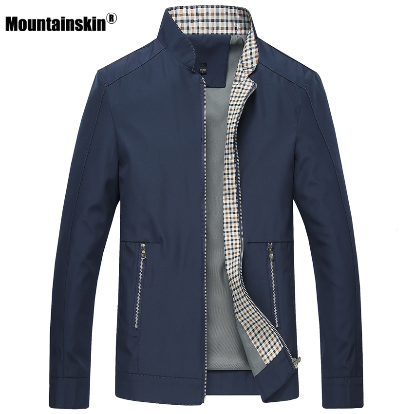 Mountainskin New Spring Autumn Men's Jackets Casual Coats Solid Color Mens Brand Clothing Stand Collar Male Bomber Jackets SA442(China)