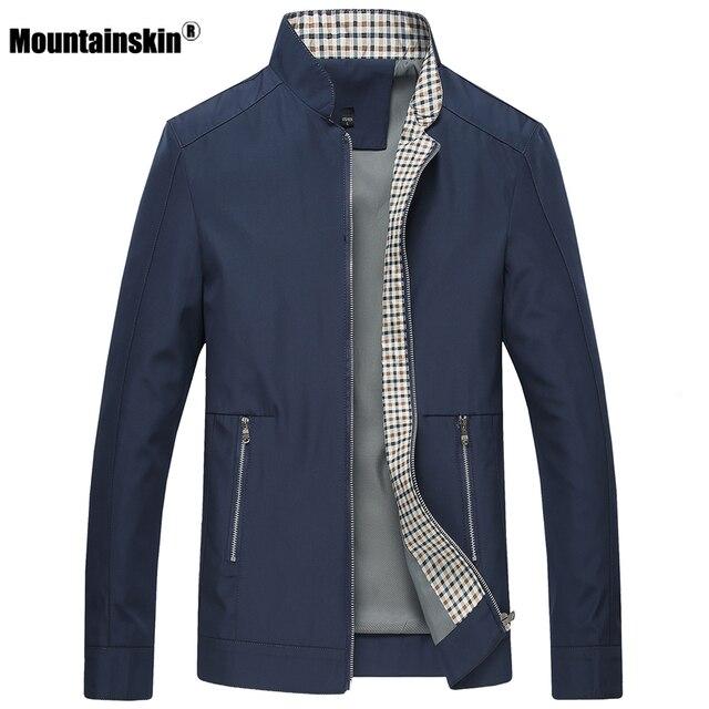 Nuevas chaquetas para hombre de primavera y otoño de piel de montaña abrigos casuales de Color sólido para hombre ropa de marca con cuello de soporte chaquetas de bombardero para hombre SA442