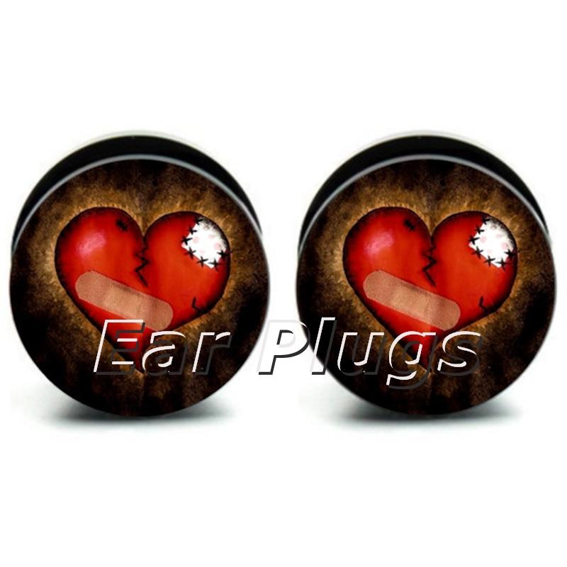 Hot sale 60pcs/lot patch heart flesh tunnel screw fit ear plug flesh plug size 6mm-25mm(1) high quality UV acrylic A0235