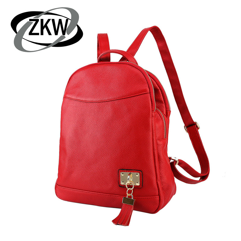 Z K W  100% Natural Genuine Leather Women Backpack 3 Zipper Layers Womens Travel Bags Perfect Quality School BagZ K W  100% Natural Genuine Leather Women Backpack 3 Zipper Layers Womens Travel Bags Perfect Quality School Bag
