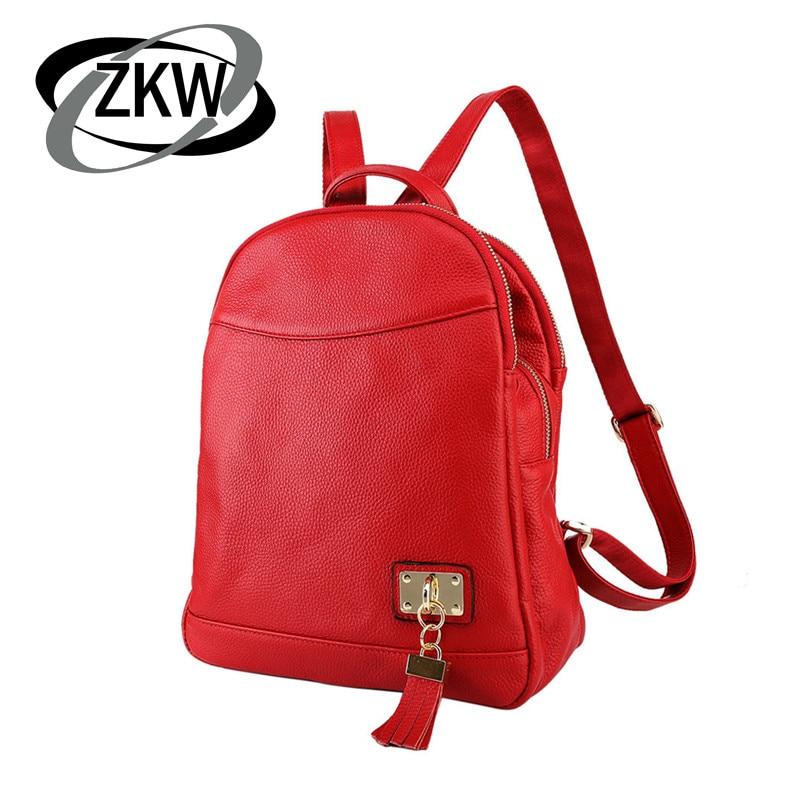 Z K W 100% sac à dos en cuir véritable naturel pour femmes 3 couches de fermeture à glissière sacs de voyage pour femmes sac d'école de qualité parfaite