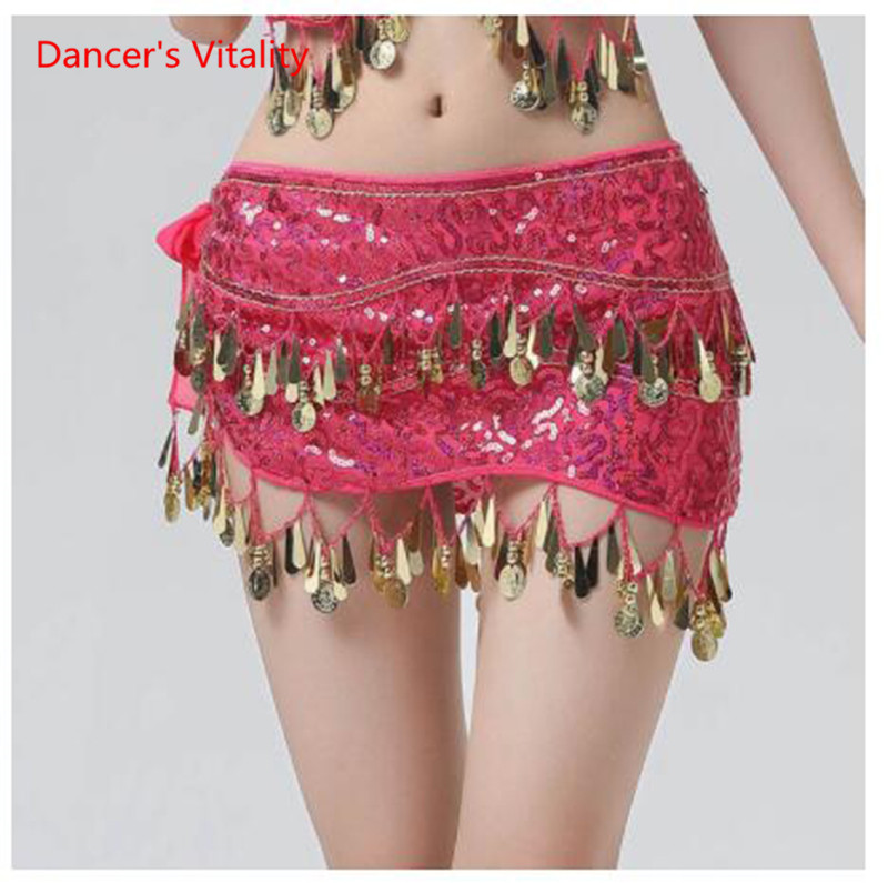 New Arrival Accessories For Dancewear With Sequins And Fringe, Elastic Mesh Ruffles, Women's Belts For Belly Dance, Scarf