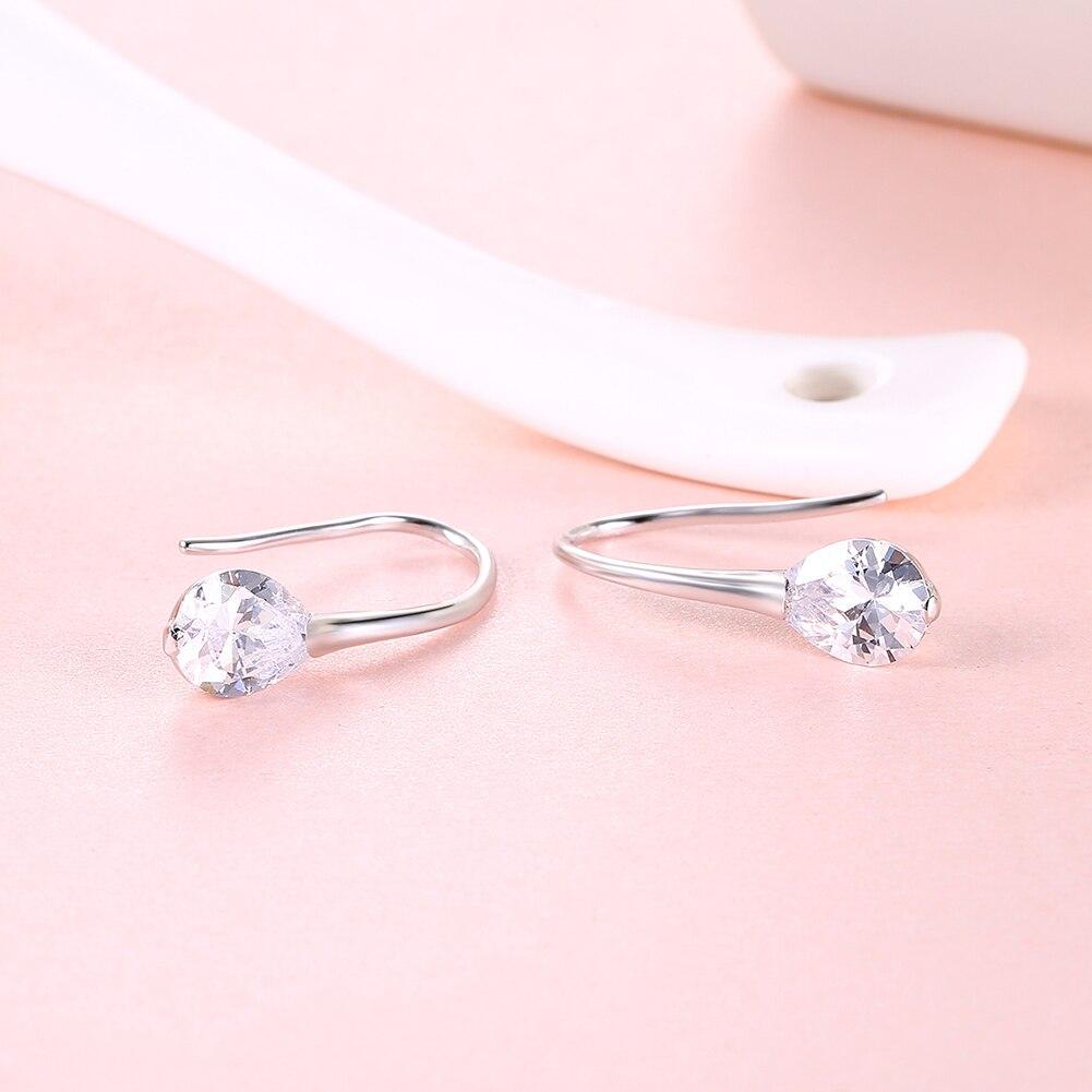 SILVERHOO 925 Sterling Silver Water drop Zircon Stud Earrings for Women Brincos de Feminino Trendy Crystal Fine Jewelry