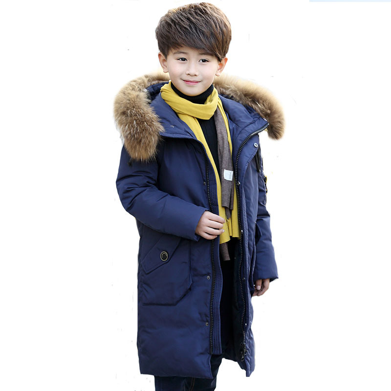 2017 Boys Winter Thick Warm Duck Down Jackets Kids Fur Hooded Casual Children Snow Outerwear Down Winter Solid Color Long Jacket buenos ninos thick winter children jackets girls boys coats hooded raccoon fur collar kids outerwear duck down padded snowsuit