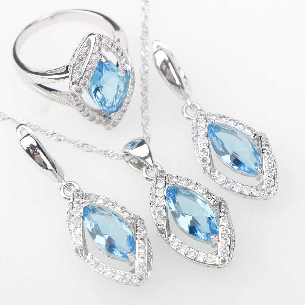 41131b311 ... Sky Blue CZ Silver 925 Costume Jewelry Sets Eyes Pendant Necklace Rings  Earrings With Stones Women's ...