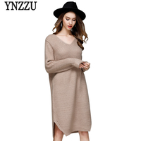 New 2017 Autumn Winter Vintage Knitting Sweater Women Dress Long Sleeve V Neck Loose Split Dresses