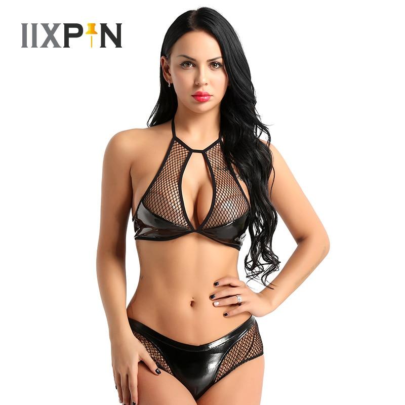 IIXPIN Women Pole Dance Clothes Sexy Set lingerie femme Babydoll Wet Look Faux Leather Fishnet Halter Neck Bra Top Mini Briefs