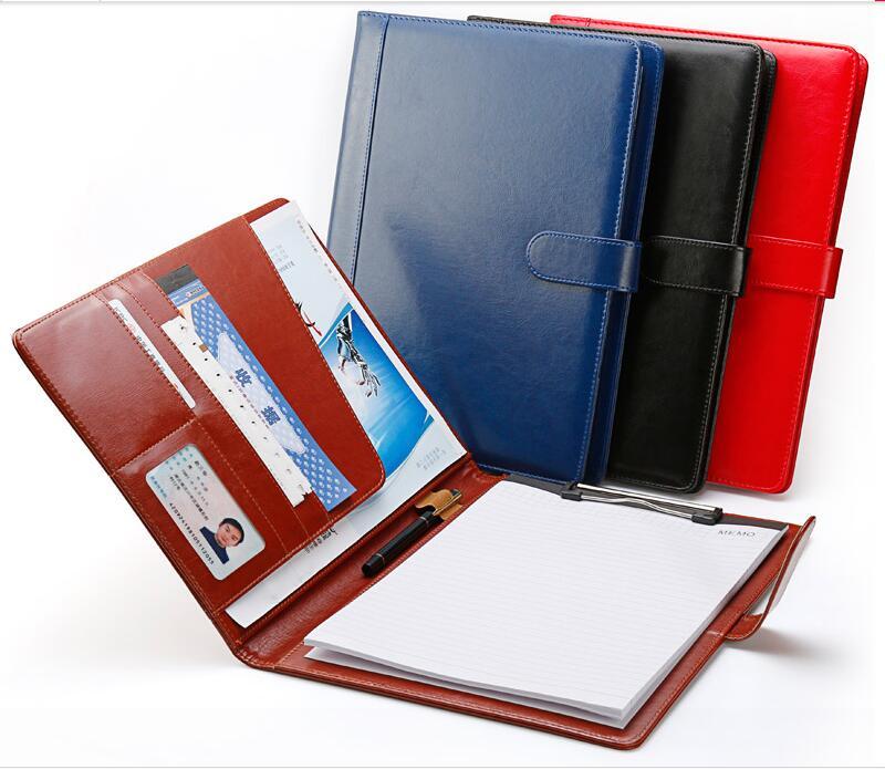 Dossier de classement portable en cuir PU de haute qualité a4 dossier de conférence portefeuille padfolio pour documents avec fermoir fourniture de bureau 1300