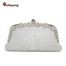2016 New Women Party Handbag Luxury Bling Full Diamond Wedding Bridal Bridesmaid Day Clutches Purse Banquet Evening Bag Silver
