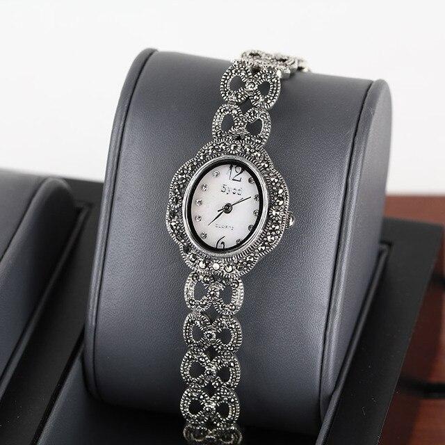 Plata de la manera 925 del reloj de las pulseras para las mujeres Retro reloj de La Vendimia reloj de Plata de Ley 925 joyas de plata Tailandés