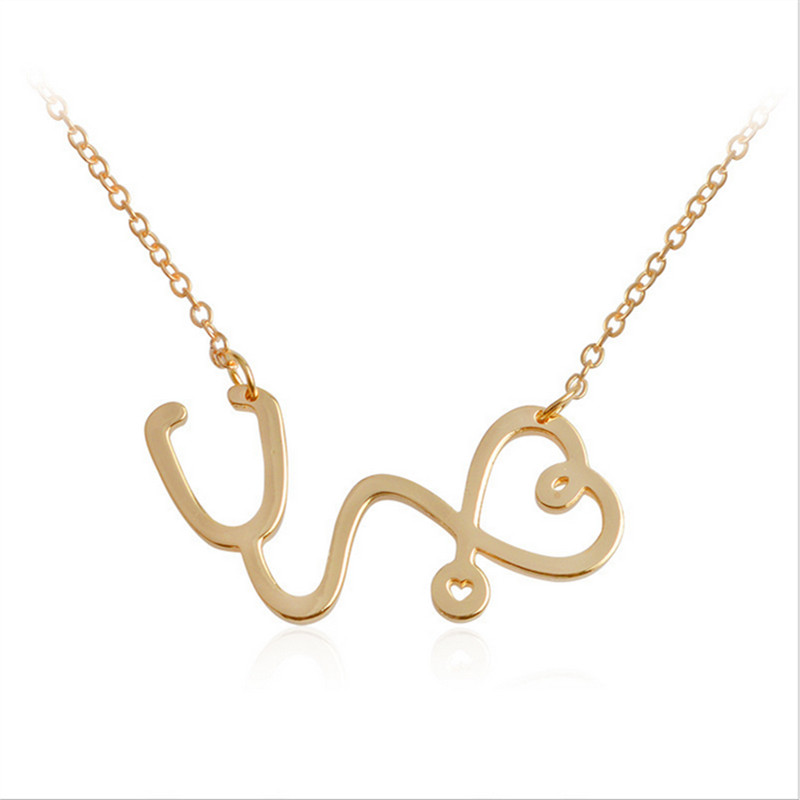 Fashion Medical Heart Chain Necklace Jewelry Rose Gold Silver Gold color Nurse Stethoscope Necklaces For Women