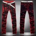 2016 новая мода личность чернила брызги череп печатные джинсы мужчин случайные тонкий красный череп печати джинсы мужчин красные штаны, размер 28-36