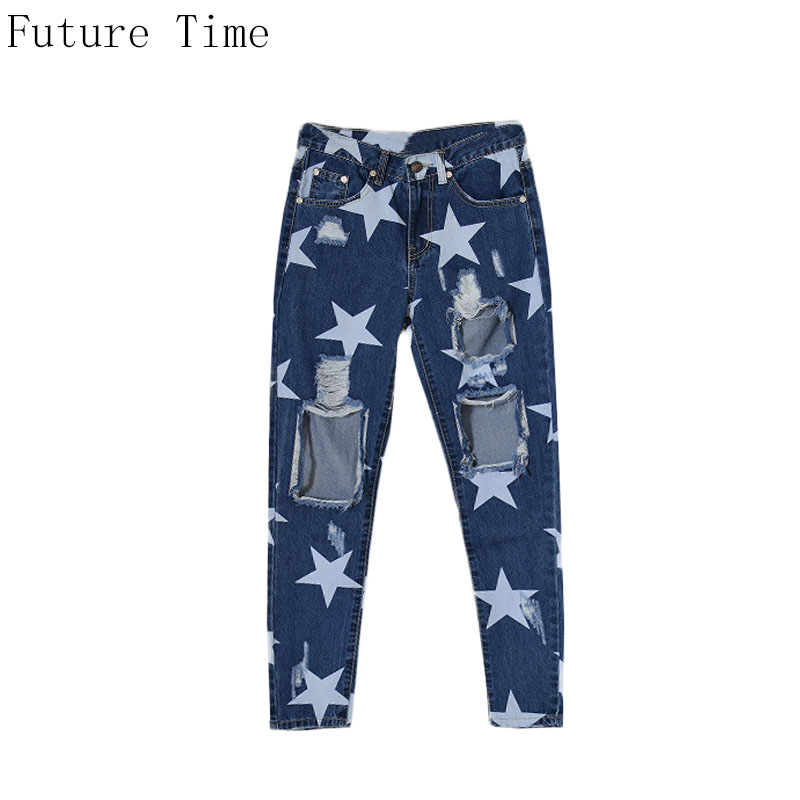 Boyfriend New Loose Big Hole Women Jeans Star Floral Printed High Waist Straight Casual Pants Ripped Ankle Length Trousers NZ245
