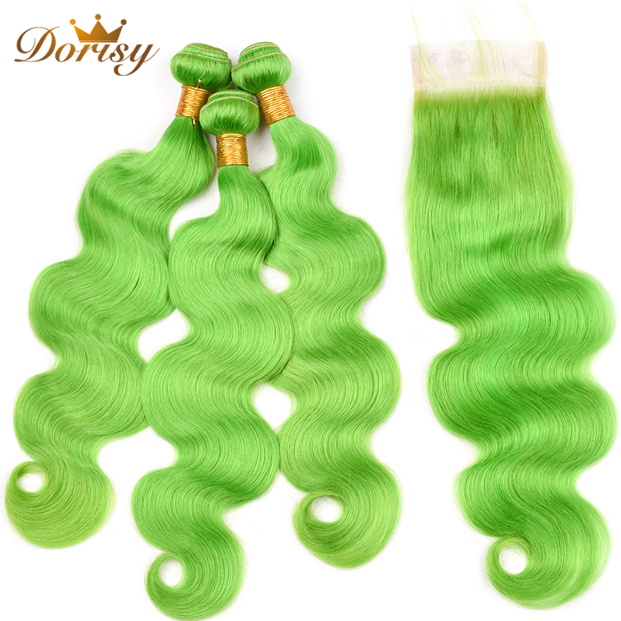 Pre Colored Green Hair Bundles With Closure Body Wave Human Hair Bundles With Closure Lace Closure