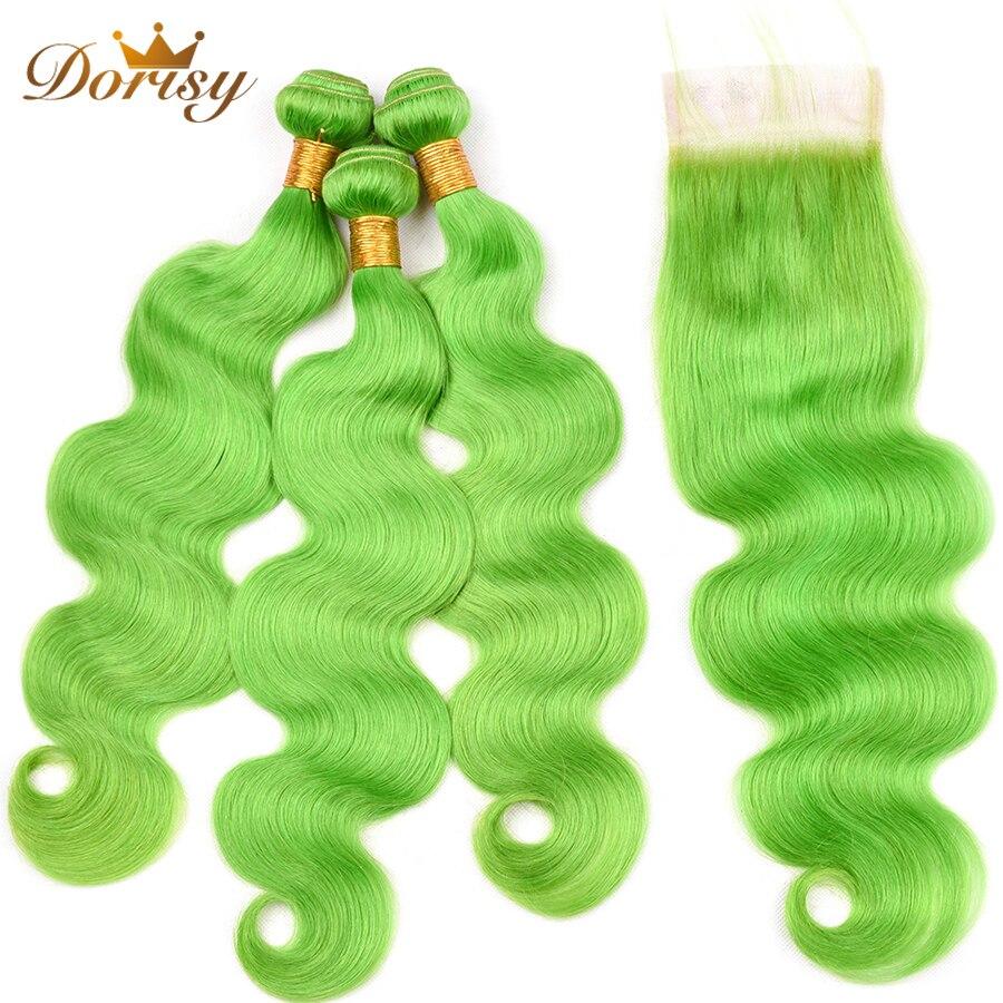 Pre Colored Green Hair Bundles With Closure Body Wave Human Hair Bundles With 4*4 Closure Remy Hair Bundles