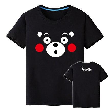 Summer Men Kawaii Kumamon Print Women Crop Top Sweet Neck T Shirt Lovely Black Bear Tops  Anime Kumamoto Bear Mascot T-shirt