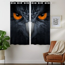 Blackout Curtains 2 Panels Grommet for Bedroom Cool Eagle Orange Eye Gray Animal