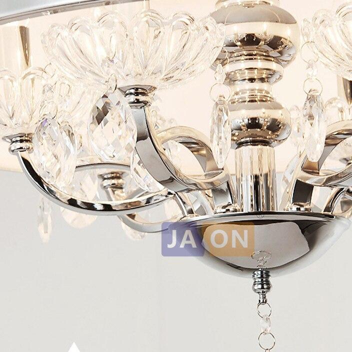 led e14 Modern Iron Crystal Fabric Round LED Lamp.LED Light.Ceiling Lights.LED Ceiling Light.Ceiling Lamp For Foyer Bedroom