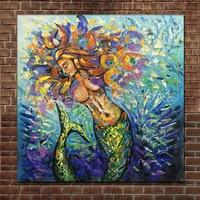 Pintura al óleo moderna del arte de la historieta sirena textura gruesa en lienzo arte de pared para sala Decoración para el hogar imágenes 100% pintado a mano