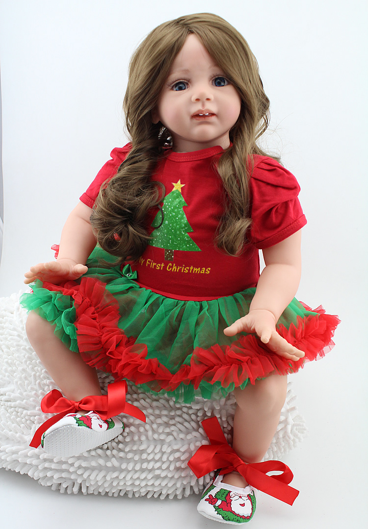 24 inch Reborn Fridolin Girl Dolls with Long Curly Hair 60cm High Grade Baby Alive Adora Dolls for Girls in Chirstmas Dress Gift new arrived 55 60cm silicone reborn baby dolls fridolin sweet girl real gentle touch rooted human hair with pink dress newyear