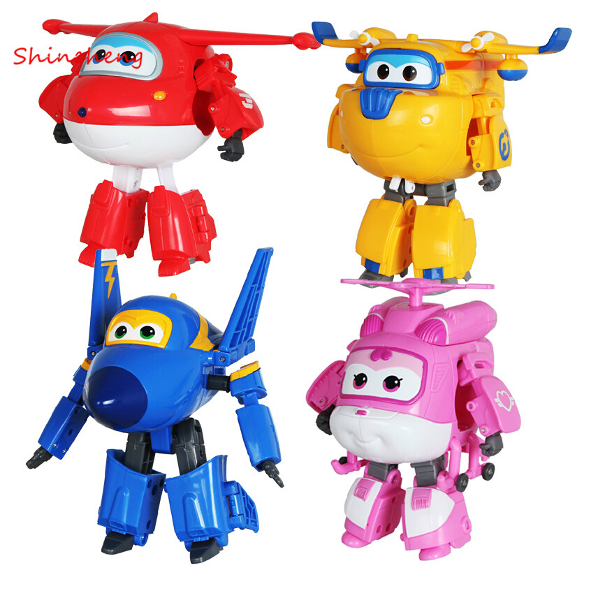 SHINEHENG Hot Sale! Super Wings Mini Planes Toy ABS Deformation Airplane Robots JETT Action Figure Boys Birthday Gift Superwings