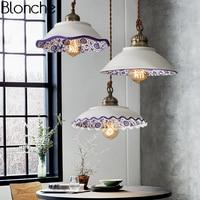 Chinese Style Ceramic Pendant Lights Vintage Led Retro Porcelain Hanging Lamp for Home Loft Decor Kitchen Lighting Fixtures E27