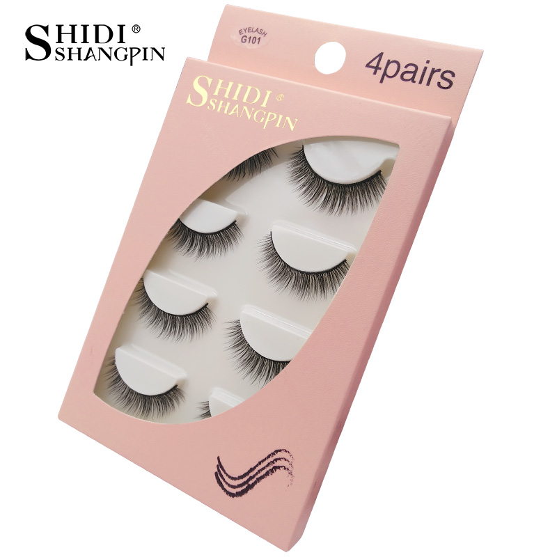 HTB1nGcuaN2rK1RkSnhJq6ykdpXaO Natrual long 3D Mink False Eyelashes wholesale 4 pairs Fluffy Make up Full Strip Lashes 3D Mink Lashes faux cils Soft Maquiagem